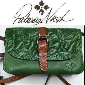 Patricia Nash Green Tooled Leather Crossbody Bag